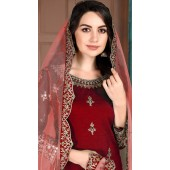 Maroon Art Silk Party Wear Patiala Salwar Suit SURDA107599704