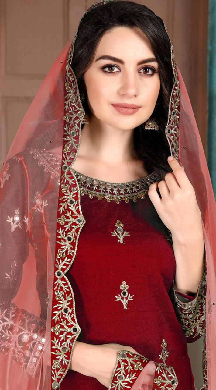 Maroon Art Silk Party Wear Patiala Salwar Suit SURDA107599704