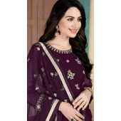 Purple Faux Georgette Wedding Wear Abaya Style Suit SURDA1105991002