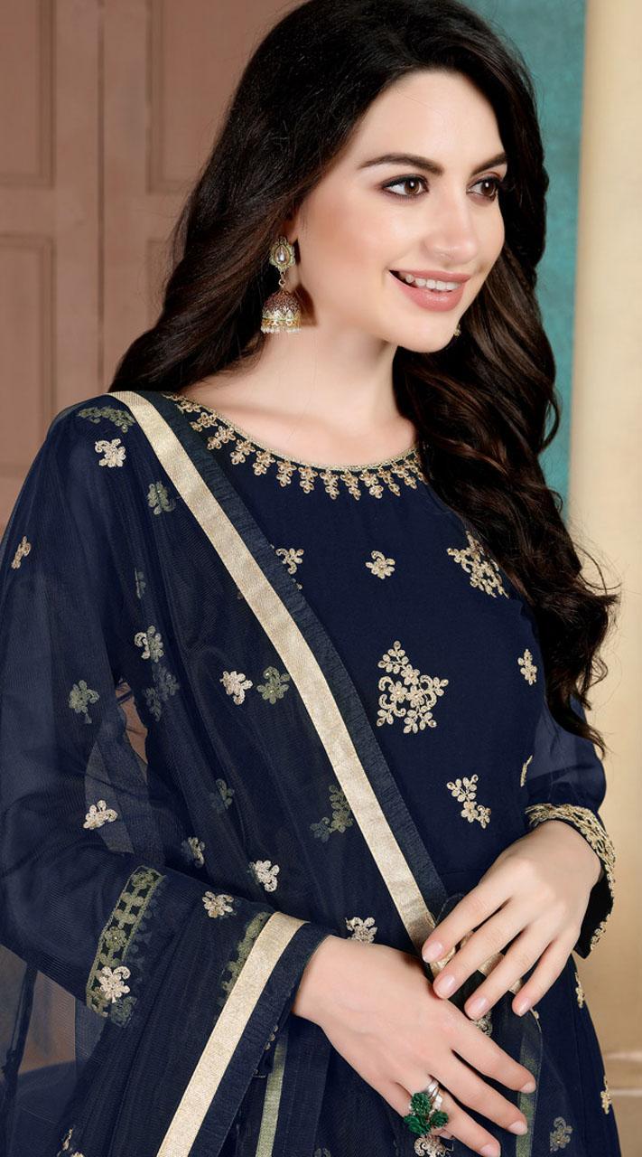 Blue Faux Georgette Wedding Wear Abaya Style Suit SURDA1105991003