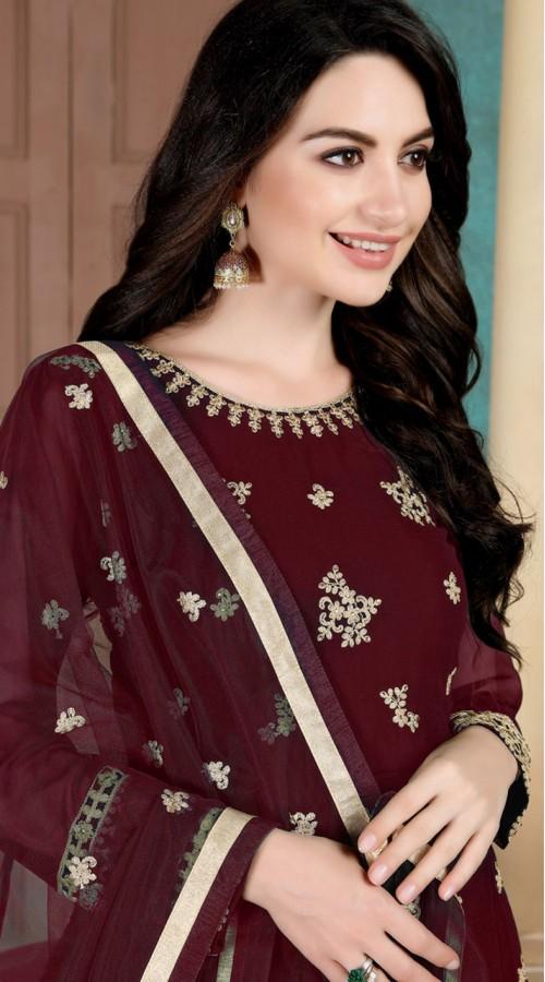 Wine Faux Georgette Wedding Wear Abaya Style Suit SURDA1105991004