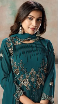 Teal Blue Faux Georgette Embroidered Festival Wear Churidar Suit SURDAV2599021