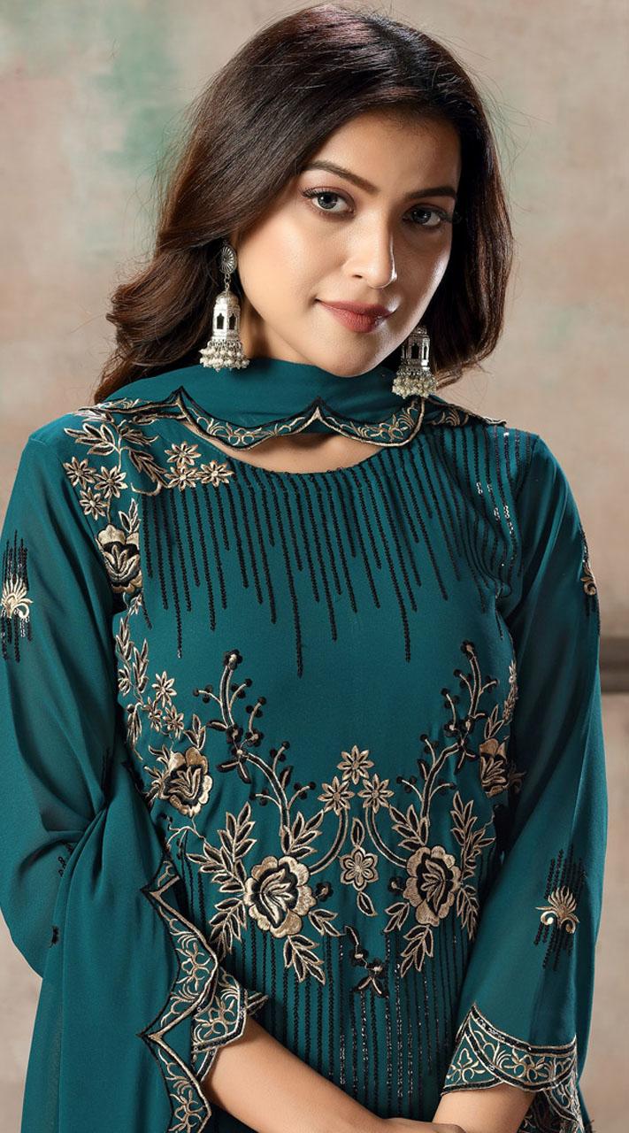Teal Blue Faux Georgette Embroidered Festival Wear Churidar Suit SURDAV2599021
