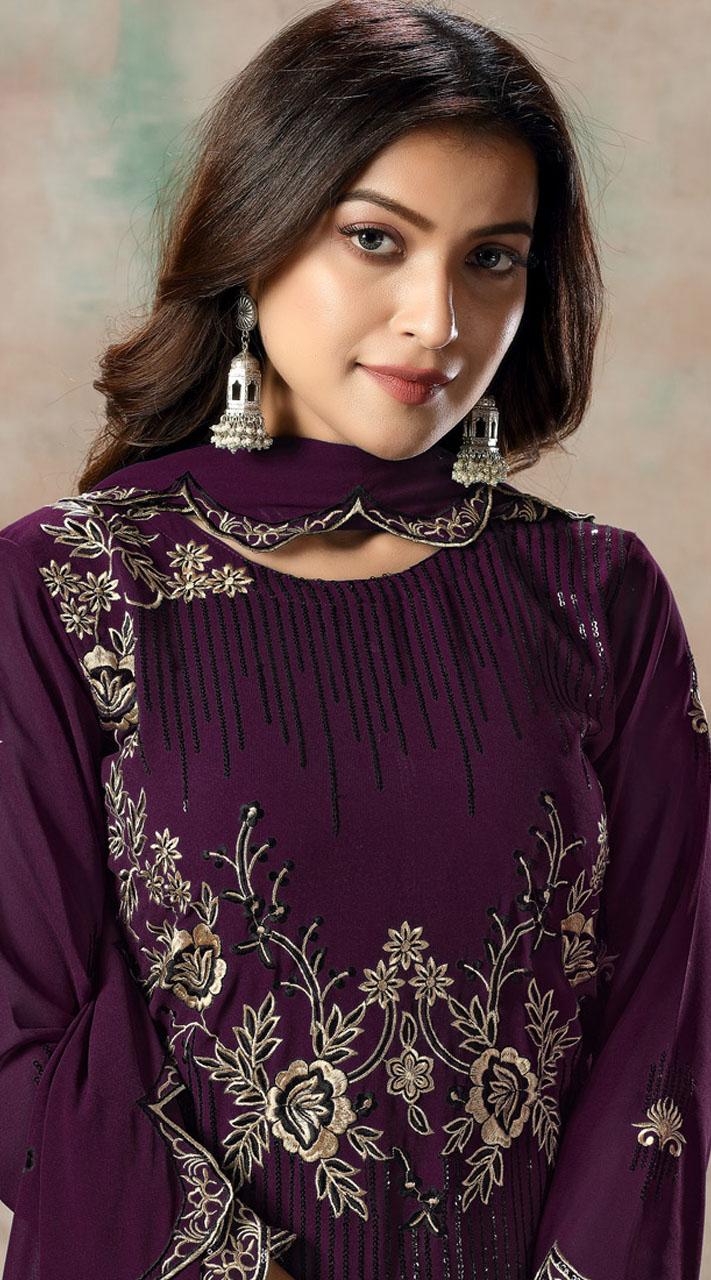 Magenta Faux Georgette Embroidered Festival Wear Churidar Suit SURDAV2599022