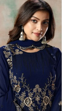 Blue Faux Georgette Embroidered Festival Wear Churidar Suit SURDAV2599023