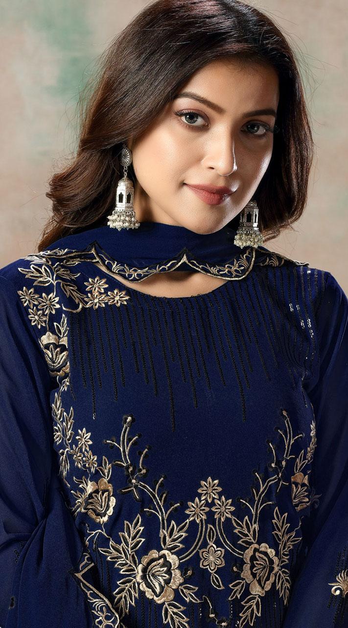Blue Faux Georgette Embroidered Festival Wear Churidar Suit SURDAV2599023