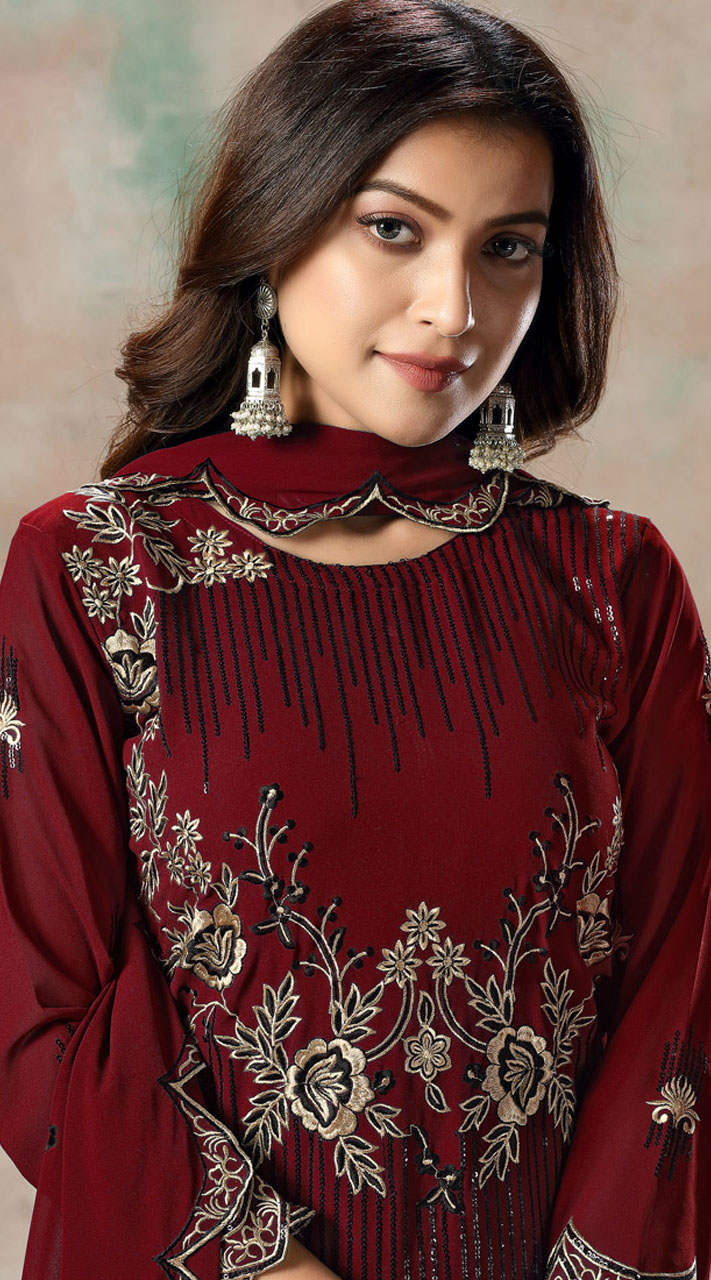 Red Faux Georgette Embroidered Festival Wear Churidar Suit SURDAV2599024