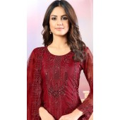 Red Net Designer Straight Cut Suit SURDAV3599034