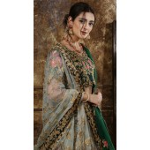 Green Wedding Lehenga and Taffet Satin choli fabric SURKFG21101