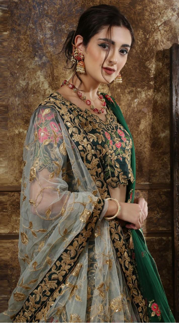 Green Wedding Lehenga and Taffet Satin choli fabric SURKFG21101