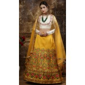 yellow Wedding Lehenga and Thai Silk choli fabric SURKFG21102