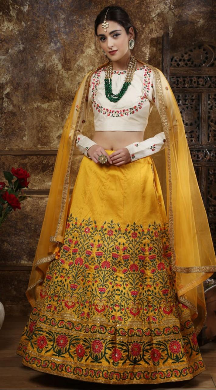 yellow Wedding Lehenga and Thai Silk choli fabric SURKFG21102