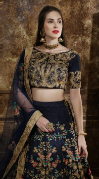 Navy Blue Wedding Lehenga and Thai Silk choli fabric SURKFG21103