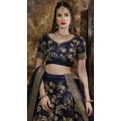 Navy Wedding Lehenga and Phantom silk choli fabric SURKFG21105