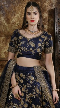 Navy Wedding Lehenga and Phantom silk choli fabric SURKFG21105