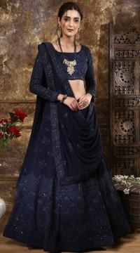 Navy Blue Georgette Festive Lucknowi Designer Lehenga Bridesmaid SURKFB21081