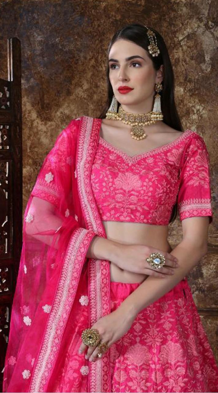 Silk Pink Festive Lucknowi Designer Lehenga Bridesmaid SURKFB21082