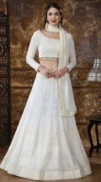 Off white Georgette Festive Lucknowi Designer Lehenga Bridesmaid SURKFB21083