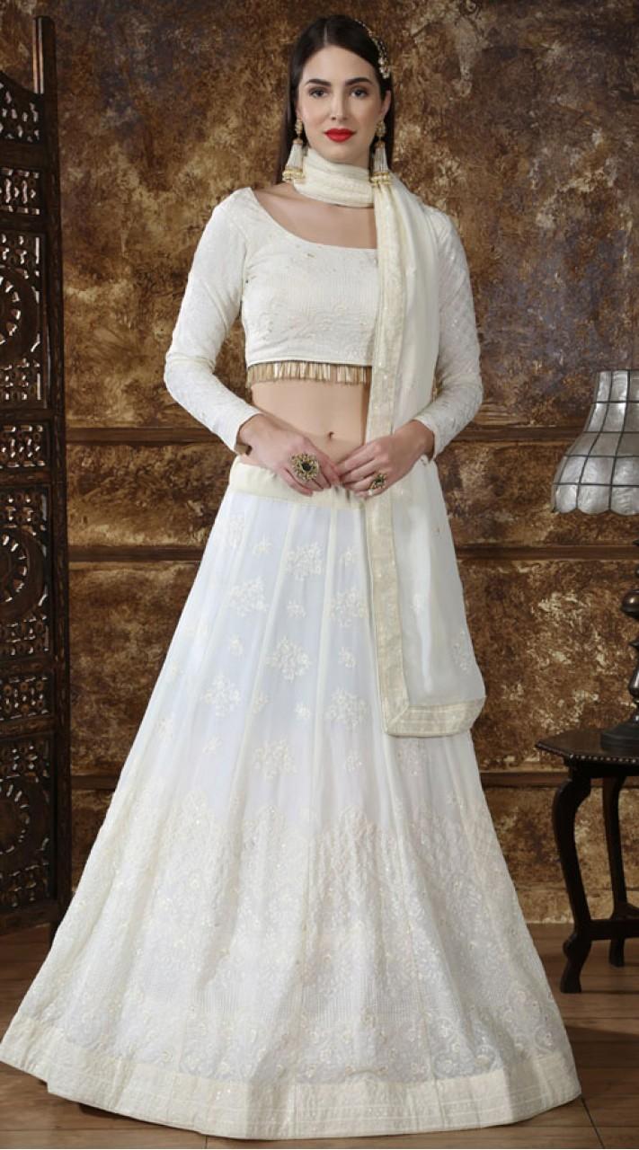 Off white Georgette Festive Lucknowi Designer Lehenga Bridesmaid SURKFB21083