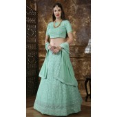 Green Georgette Festive Lucknowi Designer Lehenga Bridesmaid SURKFB21084