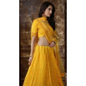 Yellow Silk Festive Lucknowi Designer Lehenga Bridesmaid SURKFB21085