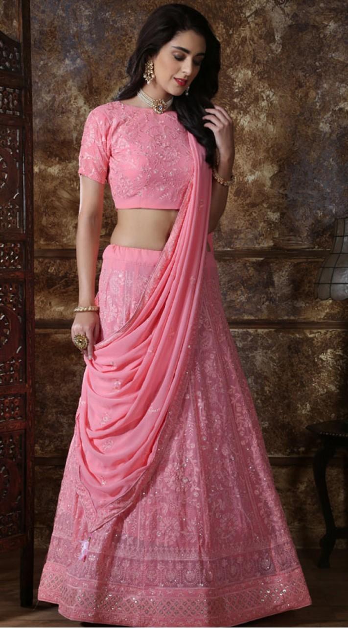Pink Georgette Festive Lucknowi Designer Lehenga Bridesmaid SURKFB21086