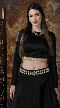 Black Taffeta Satin Party Wear Girls Lehenga SURKFG41093