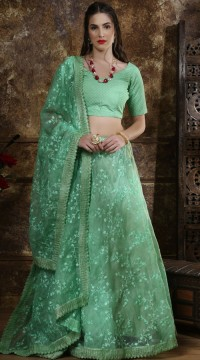 Green Organza Party Wear Girls Lehenga SURKFG41095