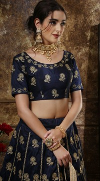 Navy Blue Thai Silk Party Wear Girls Lehenga Girly Lehenga SURKFG41096
