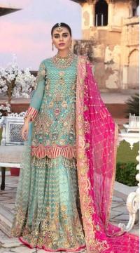 Blue Georgette Pakistani Palazzo Suit SURKR26599501