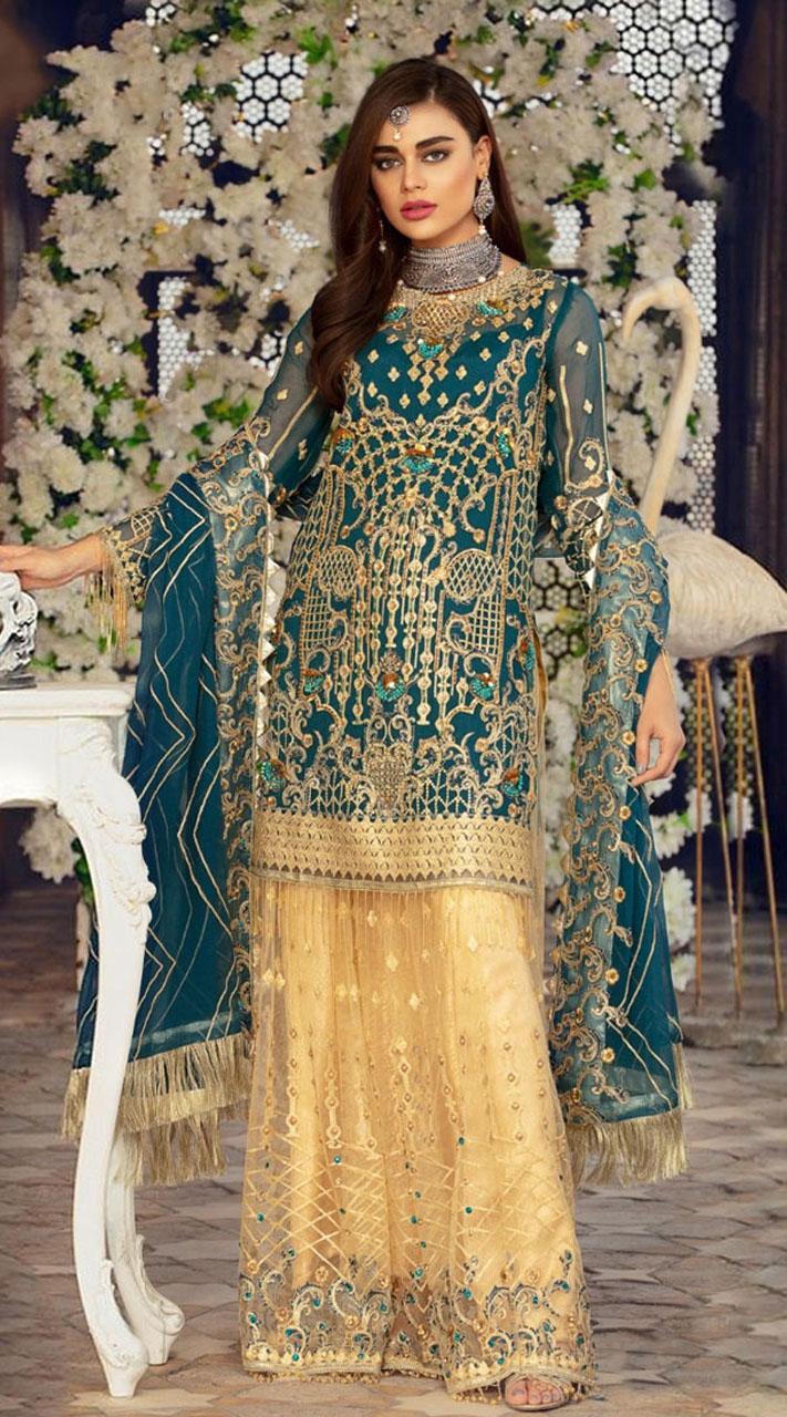 Blue Georgette Pakistani Palazzo Suit SURKR26599502