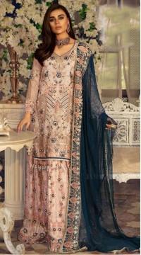 Pink Georgette Pakistani Palazzo Suit SURKR26599505