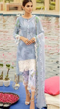Grey Cambric Cotton Eid Wear Pakistani Suit SURKR2659957