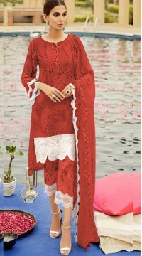 Red Cambric Cotton Eid Wear Pakistani Suit SURKR2659958