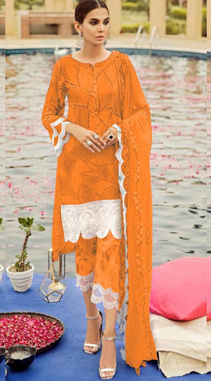 Yellow Cambric Cotton Eid Wear Pakistani Suit SURKR2659959