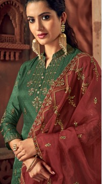 Designer Green silk ceremony palazzo suit SURBL265993101