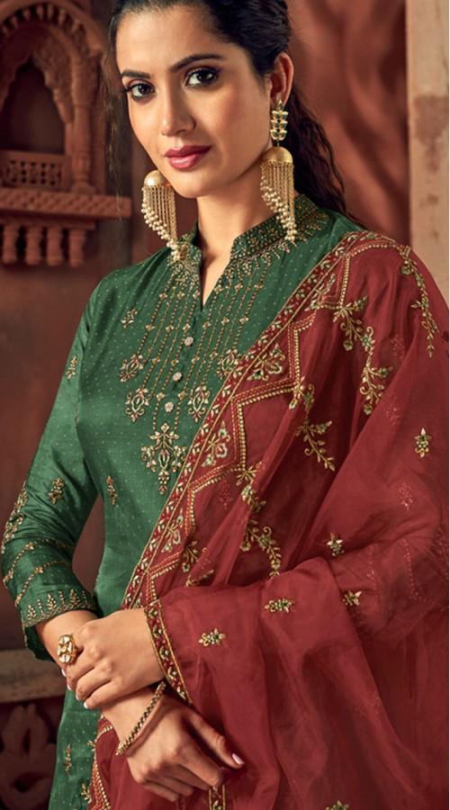 Designer Green silk ceremony palazzo suit SURBL265993101