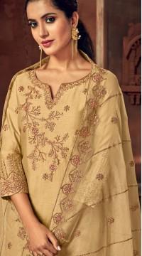 Designer Gold silk ceremony palazzo suit SURBL265993102