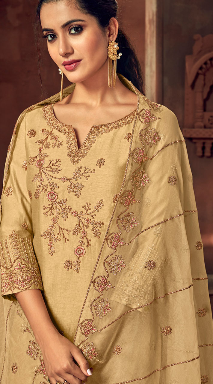 Designer Gold silk ceremony palazzo suit SURBL265993102