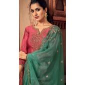 Designer Pink silk ceremony palazzo suit SURBL265993106