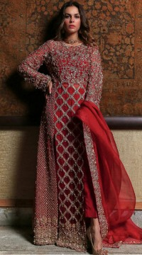 Red Georgette Bridal pakistani salwar suit SURSC018256
