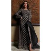 Black Georgette Bridal pakistani salwar suit SURSC018266
