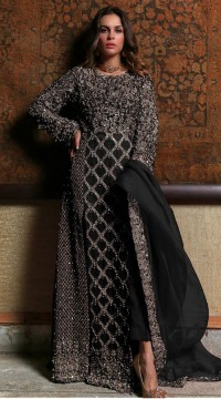 Black Georgette Bridal pakistani salwar suit SURSC018266