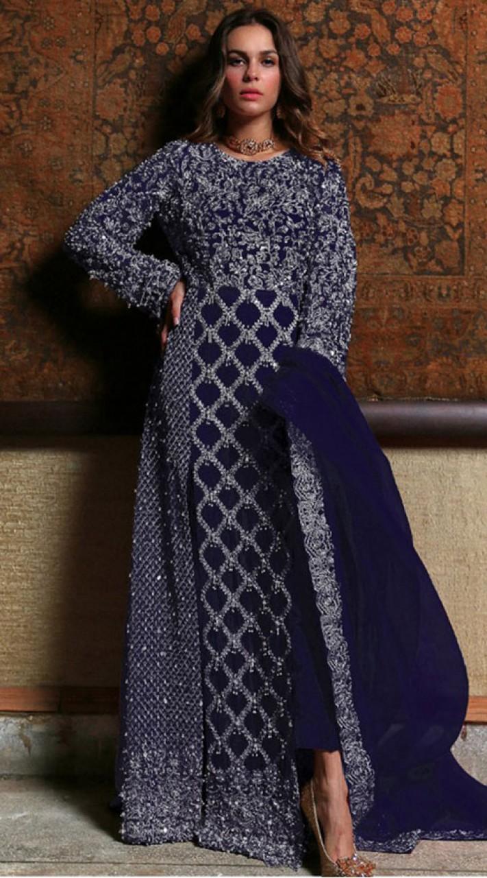 Blue Georgette Bridal pakistani salwar suit SURSC018467