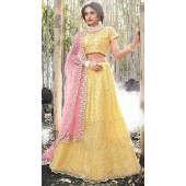 Yellow Net A Line Bridal Lehenga SURZK2659913001