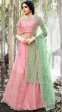Pink Net A Line Bridal Lehenga SURZK2659913002