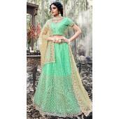 Green Net A Line Bridal Lehenga SURZK2659913004