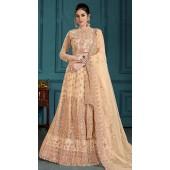 Golden Bridal Lehenga Net Choli Fabric SURZK2659915001