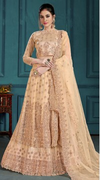 Golden Bridal Lehenga Net Choli Fabric SURZK2659915001