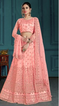 Pink Bridal Lehenga Net Choli Fabric SURZK2659915002
